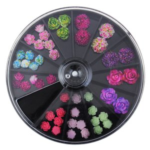 latest Japanese wheel nail art newest 3D Korea Trending Style Resin Roses acrylic Artificial flowers