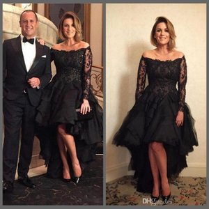 Wholesale 2018 Sexy Black Bateau Lace A-Line Evening Dresses Off-Shoulders Long Sleeves Appliques Beaded High Low Formal Gowns Mother Of The Bride