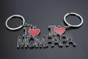 I LOVE MOM  PAPA Heart Keychains Best Trinket Jewelry Keychain Car Keyring For Father Mother's Day Gifts& Birthday Gift Free DHL G308S