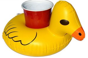 Wholesale Inflat Cup Holder Inflatable Coasters Duck Cups Holders Floating Bar Coaster Small Yellow Ducks Cute Popular
