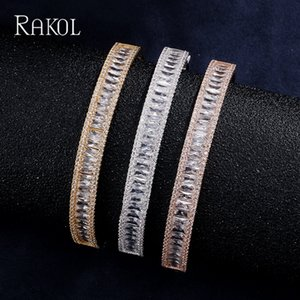 Wholesale RAKOL Fashion Rose Gold Color Cuff Zircon Austrian Crystal Baguette Friendship Roya Stone Bangles Bracelets For Women Jewelry