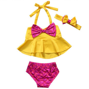 Wholesale Girls Bikini Yellow Hanging neck Big Bow Tie Tops Pink Mermaid Briefs Swimsuit Baby Beach Swimsuit Dress for T Girls Girls Clothing