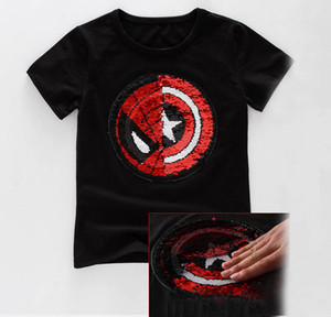Spiderman Captain Reversible Sequins T-shirt bling change design Tee Tops for Kids Boys Girls Summer Embroidered Reverse Patch T Shirts