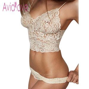 2018 Sexy Lingerie Bralette Set Women Sexy Corset Hollow Lace See-through Underwear Cami Lingerie Bra Set Sex Clothes S923