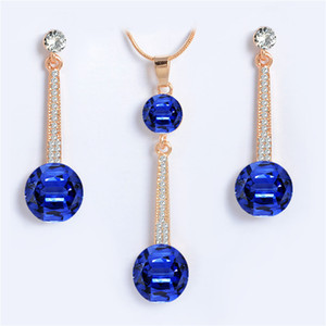 Wholesale Gold color Royal Blue Austria Crystals Drop Earrings and Pendant Necklace Jewelry Sets For Women Wedding Bridal Jewelry