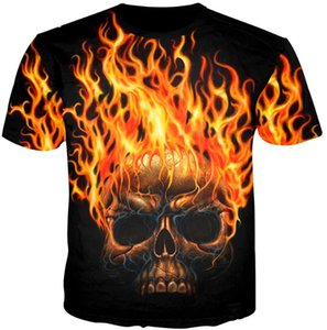 Wholesale Newest Fashion Womens Mens Unique Fire Skull Funny d Print T Shirt Summer Casual Tees AA513