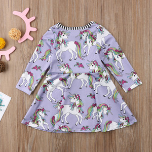 Wholesale Lovely Baby Girl Dress clothes girls Rainbow flower Unicorn printed Princess purple Party long sleeve Dresses girl Clothing T LC745