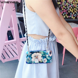 Wholesale Beautiful flowers Insta Good Crossbody Phone Case Cover with long strap chain necklace for Iphone XR XS MAX S X plus case