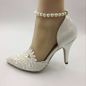 Wholesale Handmade Wedding shoes Waterproof Ivory bride wedding Pointed Toe dresses diamond lace Pearl manual wedding BRIDAL HEEL shoe SIZE EU