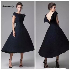 Wholesale Perfect Black Short Lace Prom Dresses Handmade Flower Backless Tea Length Pageant Formal Wear Party Evening Dresses Gowns Robe De Soiree