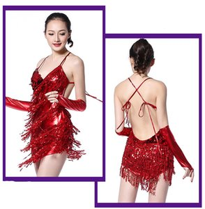 Cheap costumes glittering sequined fringed Latin dance dress women wear dancing sets Latin-piece race suit bright cloth skirts models