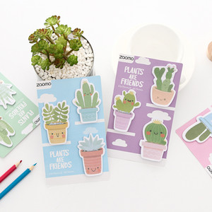 Wholesale 4 pcs Friend plants sticky note Cute cactus memo pad Book marker Index sticker planner Stationery Office School supplies A6942