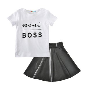 Wholesale Baby girls outfits summer kids Boss letter T shirt PU skirt set cotton Boutique children Clothing Sets H001