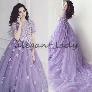 Handmade Flower Illusion Lavender Evening Gowns Puffy Sleeves Long Train Arabic Evening Dresses Party Formal Gowns Photography Dress Prom on Sale