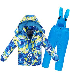 camouflage Children Snow Jacket Ski suit sets outdoor Girl Boy skiing snowboarding clothing thermal Winter jacket + bib pant -30