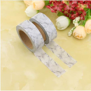 Wholesale 1X DIY Japanese Paper Marble Washi Tape White Paper Masking Tapes Adhesive Tapes Stickers Decorative Stationery Tape cm m