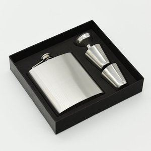 Wholesale 7oz Stainless Steel Hip Flasks Set With Cups Funnel Flagon Kit Sturdy Travel Camping Stoup For Men jz B