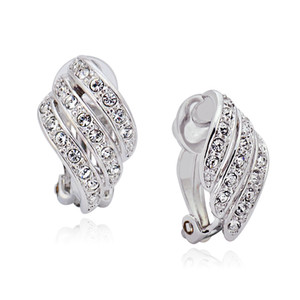 Wholesale clip earings for non pierced ears best bijoux earrings jewelry made with Austria crystal for women
