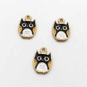 Wholesale Fashion Enamel Charms Gold Plated Metal Cute Owl Pendants fit DIY Necklace Bracelet Charms for Jewelry Making