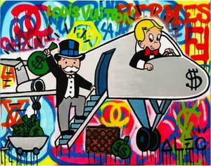 Handpainted Abstract Airplane Alec Monopoly Oil Painting on Canvas Graffiti Wall Art Home Decor High Quality Multi Sizes g10 on Sale