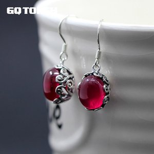 Wholesale GQTORCH Sterling Silver Earrings Hook With Natural Red Garnet Corundum Hollow Flower Vintage Design Ruby Jewelry