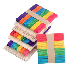 Wholesale Colored Wooden Popsicle Sticks Natural Wood Ice Cream Sticks Kids DIY Hand Crafts Art Ice Cream Lolly Cake Tools LZ1444