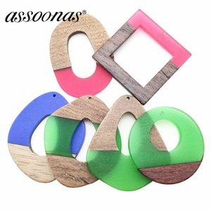 Wholesale assoonas M160 jewelry accessories diy wood acrylic earrings pendant simple and stylish jewelry making charms hand made