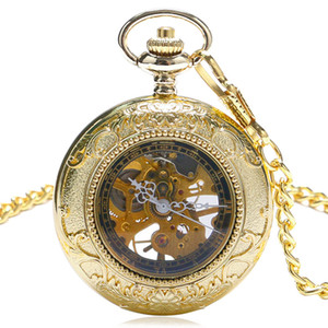 Wholesale Fashion Beautiful Golden Color Pocket Watch Mechanical Watches Pendant Women Men Hours Gift