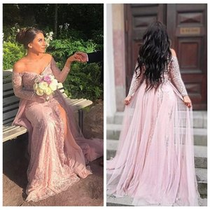 Wholesale Graceful Arabic Pink Lace Prom Dresses Long 2018 Long Sleeves Appliques Beads Split Pageant Party Dress Formal Gowns With Detachable Skirt