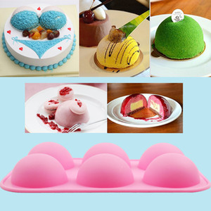 Wholesale DIY Silicone Half Sphere Cake Mold Soap Mold Jelly Pudding Chocolate Mold Cavities Hemisphere Dome Pink Mold
