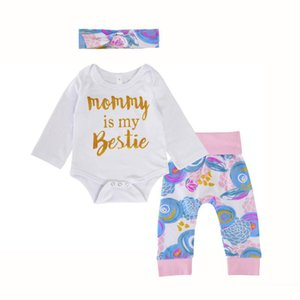 Baby girls blue floral outfits 3pc sets headband+letters printing romper+flower print pants toddlers ins hot outfits for 0-2T