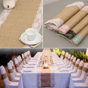 Wholesale Linen Table Flag Banner Lace Table Runner European style Fashion Tablecloths Wedding Chair Cover Decor Christmas Home Decoration