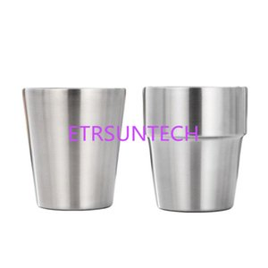 Wholesale 175ml Tea Cup Hair Line Finish Mirror Finish Scaldproof Stainless Steel Double Layer Water Cup Tableware QW8099