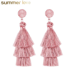 Wholesale dangled earrings resale online - New Arrival Bohemian Style Layered Gravel Tassel Earrings For Women Big Fringe Color Long Dangling Tiered Thread Earrings