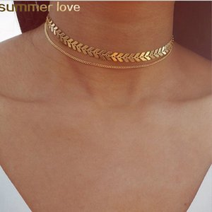 New Chain Choker Two Layers Necklaces Fishbone Airplane Shape Gold Color Hot Selling Necklace Flat Chain Jewelry