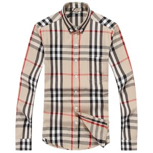 Wholesale American business brand self-cultivation plaid shirt, fashion designer brand long-sleeved cotton casual shirt striped co-dress shirt