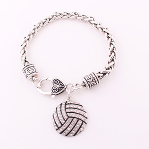 Antique Sliver Plated Zinc Studded With Sparkling Crystal VOLLEYBALL Pendant Heart Shape Charm Sporty Style Bracelet Jewelry