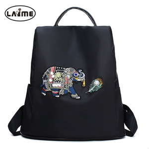 Crystal Diamond Elephant Pattern Women Backpack High Quality Waterproof Nylon Backpack Unique Rear Opening Design Girls