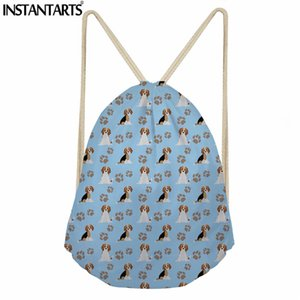 Wholesale INSTANTARTS Beagle Dog Printing Women Men Drawstring Bags Casual Small Shoes Ball Storage Bag Fashion String Backpack for Female