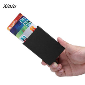 Free shipping Card Holder Stainless Steel Silver Aluminium Credit Card Case Women Wallets Nueva Vogue Men ID Card Box Cartao