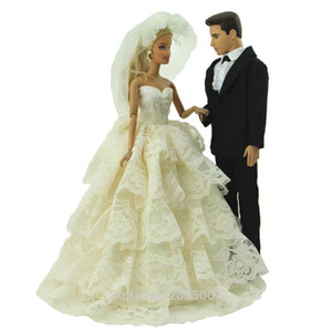 Handmade 2 Sets Outfits Princess Wedding Party Beige Lace Dress Black Formal Suit Clothes For Ken Doll Accessories Gift