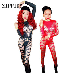 Wholesale Black Red Sexy Bandage Printed Jumpsuit Female Singer Dancer Costume One piece Stretch Bodysuit Outfit Performance Dance Wear