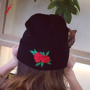 Wholesale 2017 Fashion Women Winter Keep Warm Rose Embroidery Applique Crochet Ski Hat Braided Cap Hats for girls Thick Female Caps