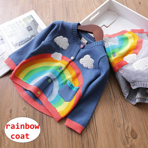 Wholesale Baby Girl knitted Coat INS Infant Girl boy Rainbow Cloud cardigan jacket Toddler Autumn Winter long sleeve Outwear
