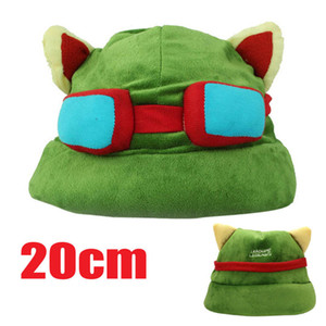 Green Retail League of Legends cosplay cap Hat Teemo hat Plush+ Cotton LOL plush toys Hats 100pcs