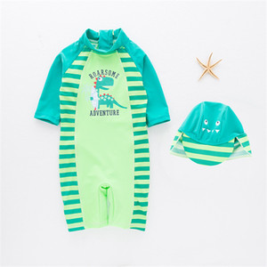 Boys Siamese Swimsuit Set Baby Dinosaur Beach Sunscreen Surfing Swimwear + Hat Boys Clothing 2 color freeshipping