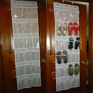Wholesale 24 Pockets Behind Door Shoe Rack Hanging Shoes Storage Rack Free Nail Shoe Holder Organizer Space Save With Hooks