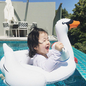 Wholesale Ins new baby inflatable white swan seat flamingo kids swim ring child life buoy baby seat