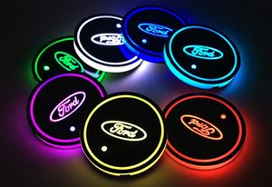 Wholesale 2pcs set Ford mondeo f150 exploror focus Logo badge Car Led Shiny Water Cup Pad Groove Mat Luminous Coasters Atmosphere Light