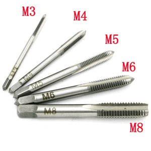 Wholesale threading tap set for sale - Group buy New Set HSS M3 M4 M5 M6 M8 Machine Spiral Point Straight Fluted Screw Thread Metric Plug Hand Tap Drill
